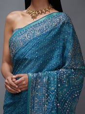 Blue & Aqua Imran Coat Paisley Print Saree With Unstitched Blouse