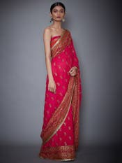 Fuchsia & Orange Embroidered Saree With Unstitched Blouse
