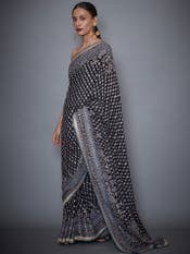 Black Embroidered Saree With Unstitched Blouse