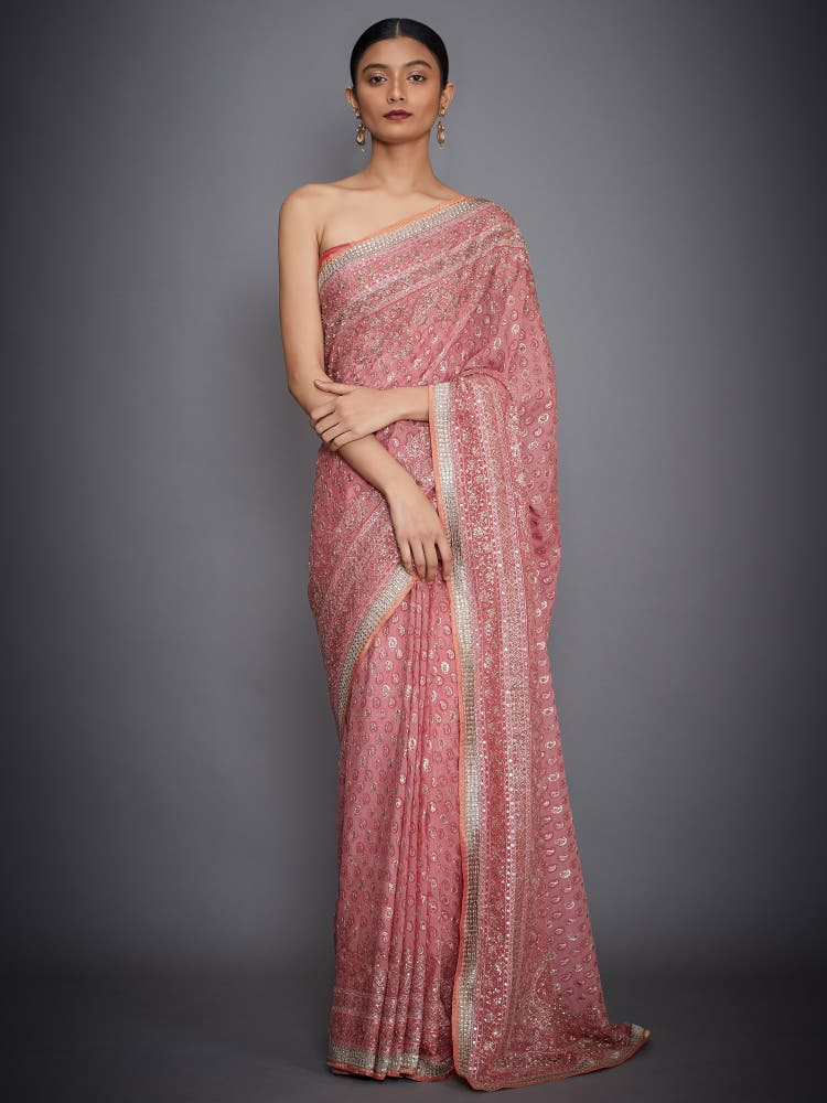 Pink & Gold Hand Embroidered Paisley Saree With Unstitched Blouse