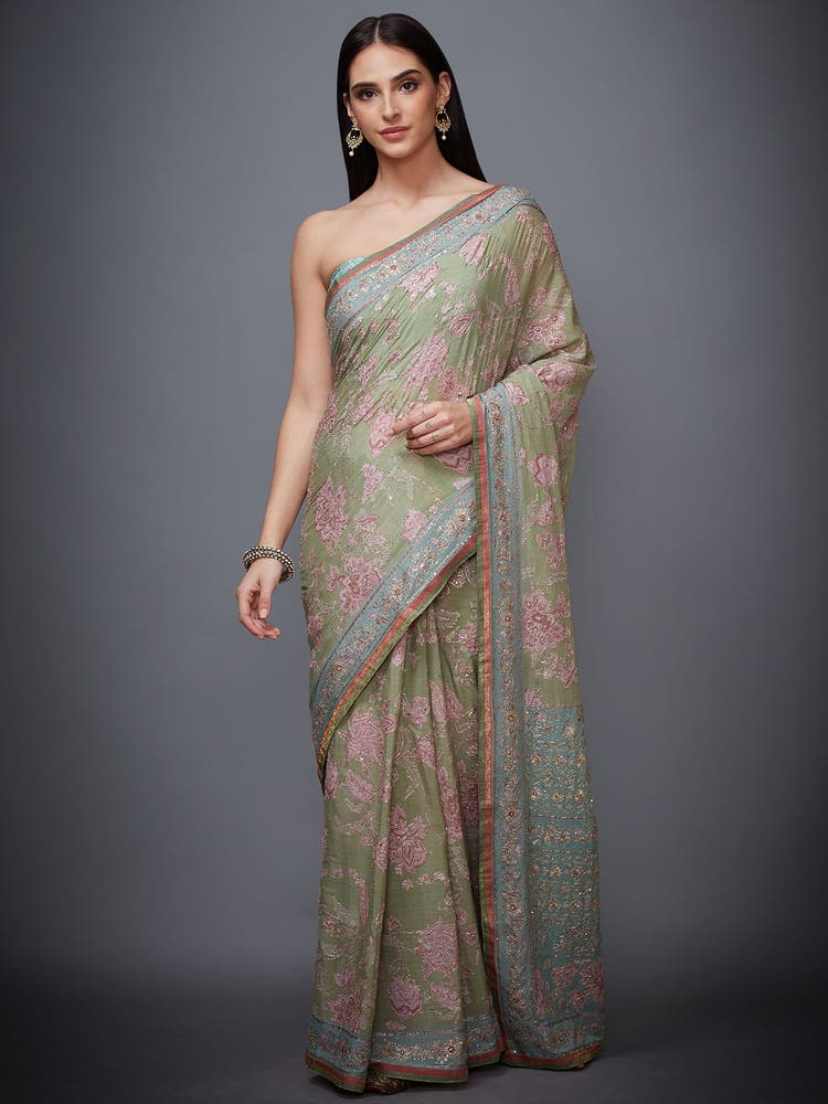 Khaki Green Embroidered Saree With Unstitched Blouse