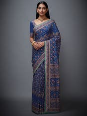Blue & Pink Hand Embroidered Saree with Unstitched Blouse