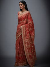 Red & Beige Hand Embroidered Saree with Unstitched Blouse