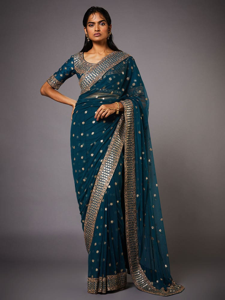 Deep Teal Yamini Embroidered Saree With Unstitched Blouse