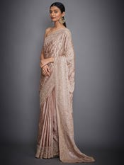 Madhuri Dixit In A Beige Tania Silk Saree With Unstitched Blouse