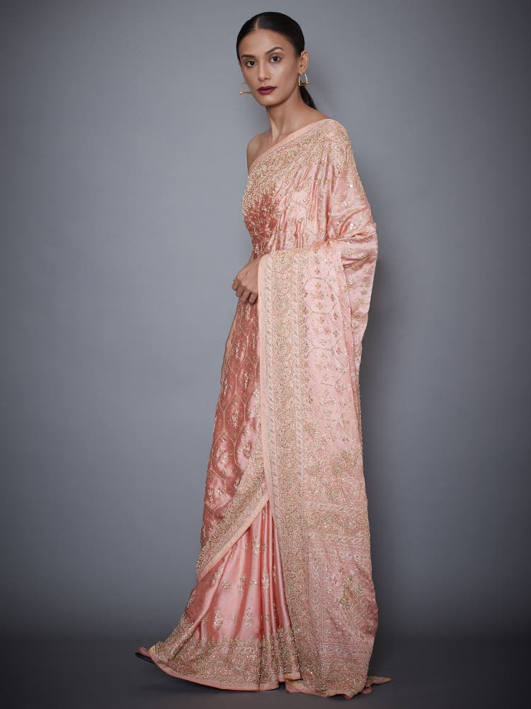 Peach Embroidered Silk Saree With Unstitched Blouse