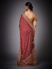 Burgundy Embroidered Paisley Saree with Unstitched Blouse