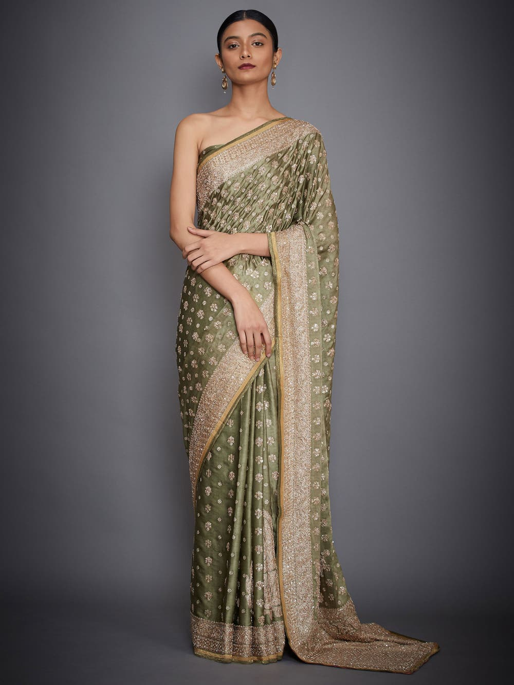 Khaki Embroidered Silk Saree With Unstitched Blouse