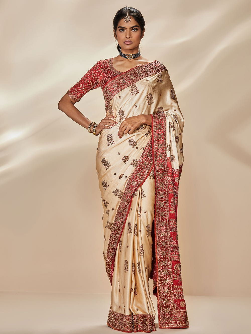 Off White & Red Nabha Zardozi Hand Embroidered Saree With Unstitched Blouse