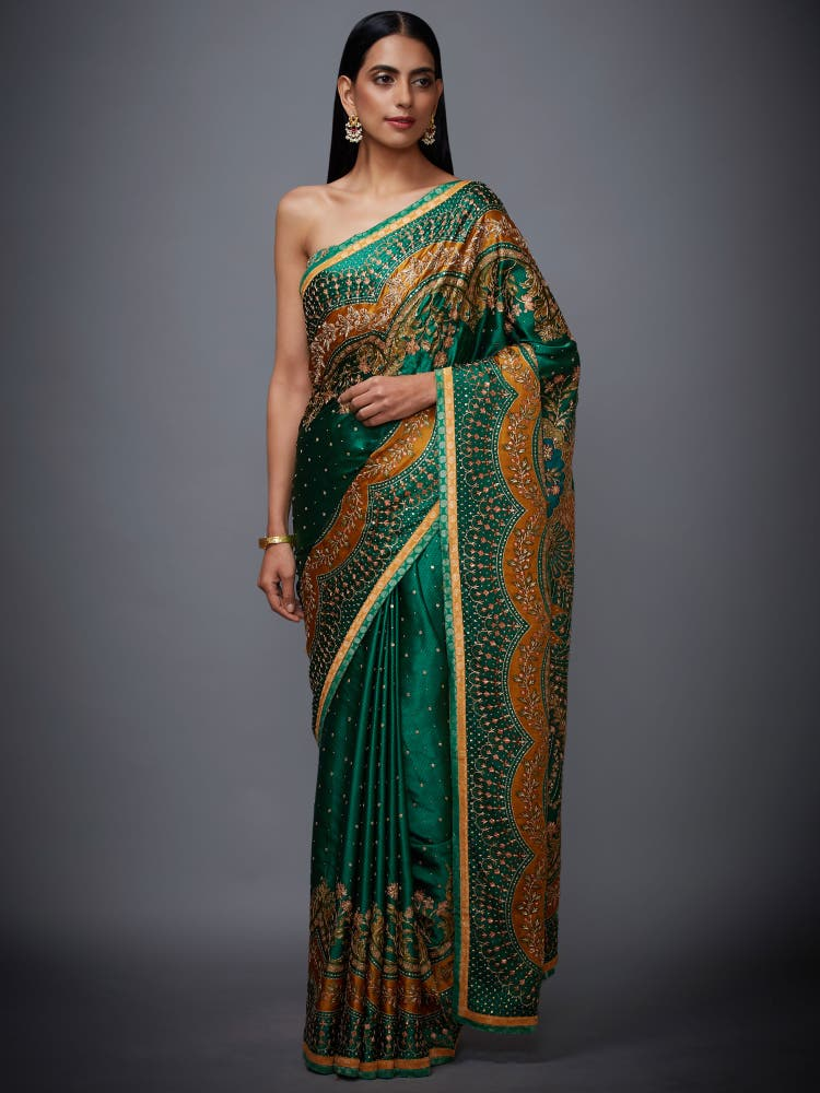 Emerald & Mustard Zardozi Saree With Unstitched Blouse