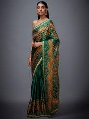 Emerald & Mustard Jasveera Zardozi Saree With Unstitched Blouse