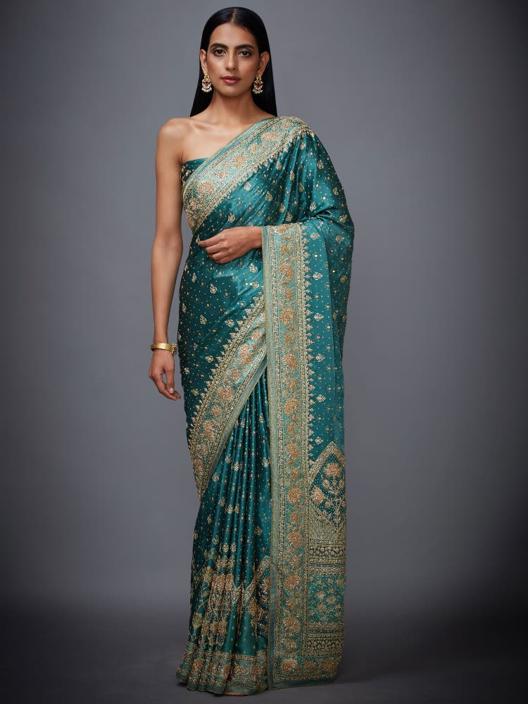 Khaki Green Zardozi Saree with Unstitched Blouse