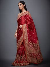 Paoli Dam in a Red & Saffron Zardozi Saree with Unstitched Blouse