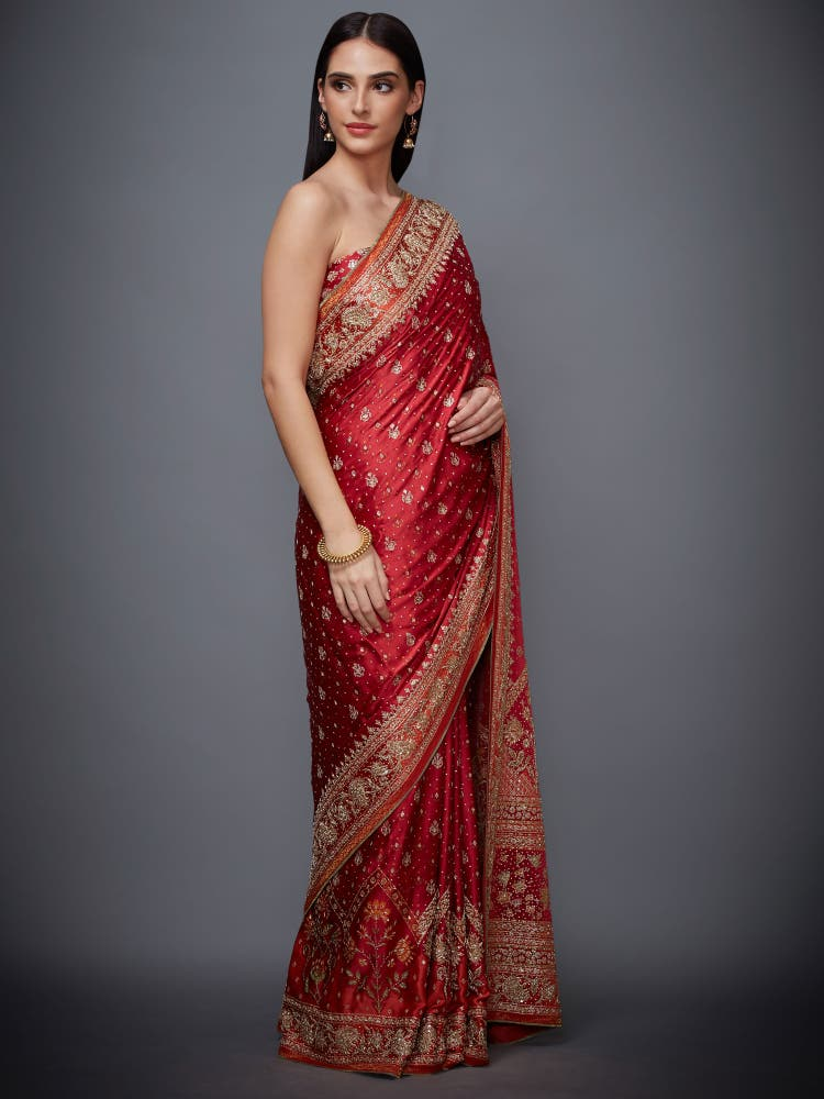 Paoli Dam In A Red & Saffron Jaya Zardozi Saree With Unstitched Blouse
