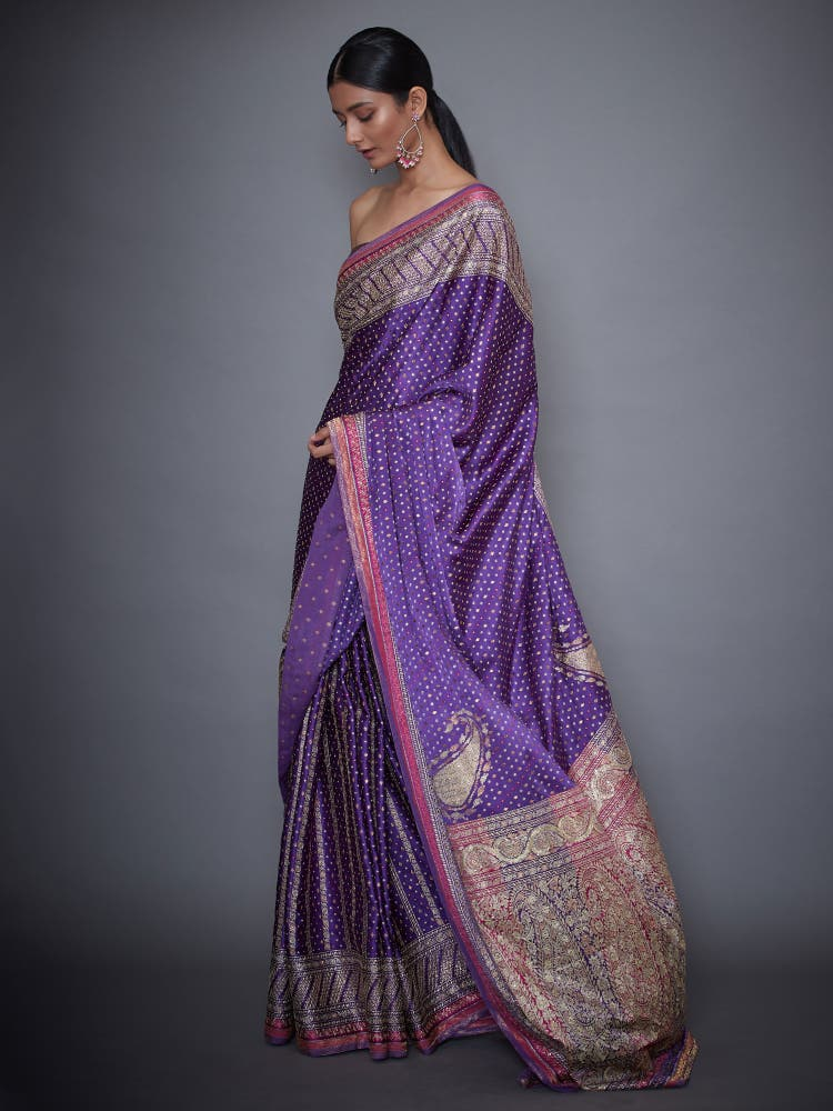 Pink & Purple Embroidered Saree With Unstitched Blouse