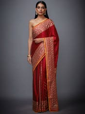 Red & Saffron Amra Ari Embroidered Saree With Unstitched Blouse