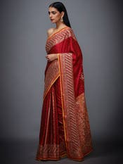 Red & Saffron Embroidered Saree With Unstitched Blouse