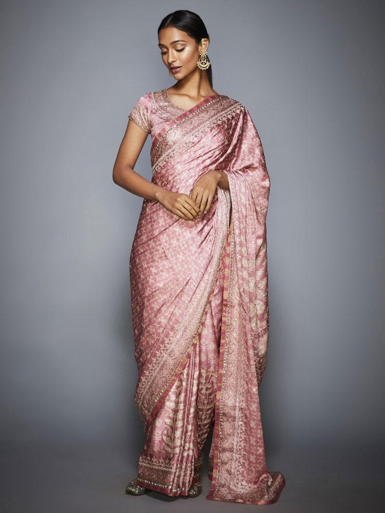 Pastel Pink & Ecru Kanakanjali Aari Saree With Unstitched Blouse