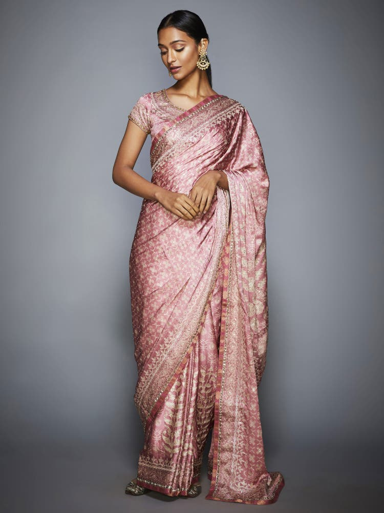 Pastel Pink & Ecru Aari Saree With Unstitched Blouse