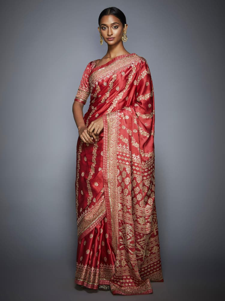 Coral & Beige Aari Embroidery Saree With Unstitched Blouse