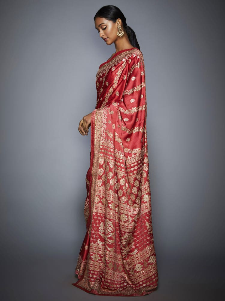 Coral & Beige Pushpanjali Aari Embroidery Saree With Unstitched Blouse