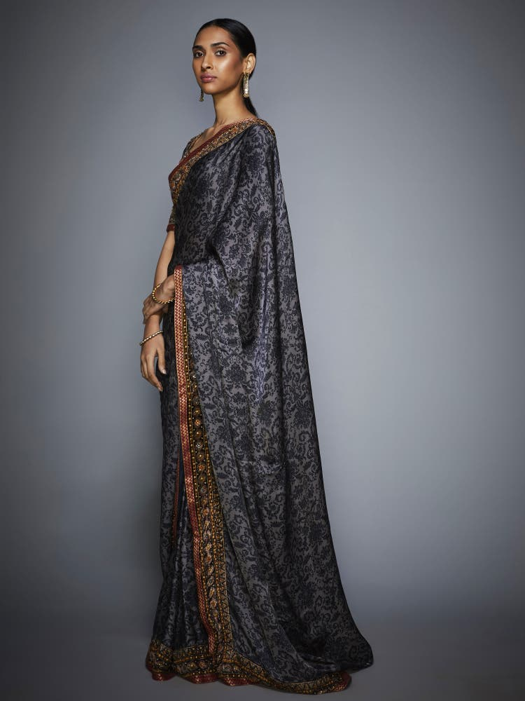 Grey & Black Zardozi Saree With Unstitched Blouse