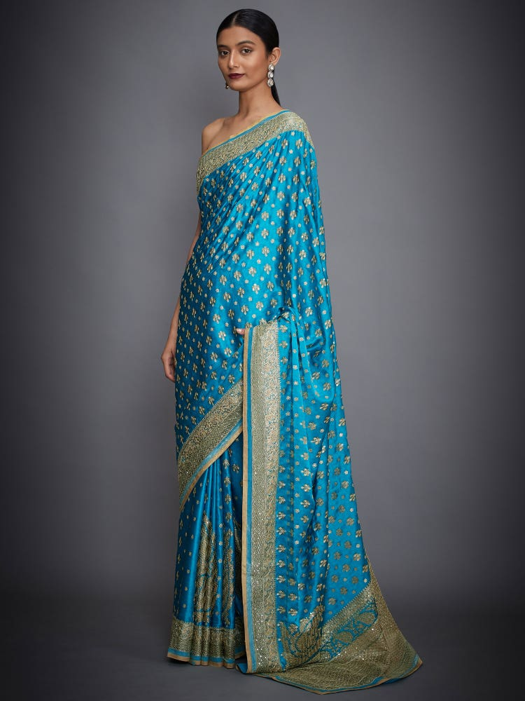 Turquoise Parampara Embroidered Saree With Unstitched Blouse