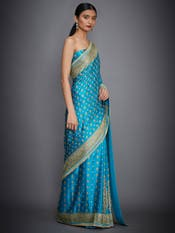 Turquoise Embroidered Saree With Unstitched Blouse