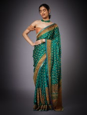 Emerald Parampara Ari Embroidered Paisley Saree With Unstitched Blouse