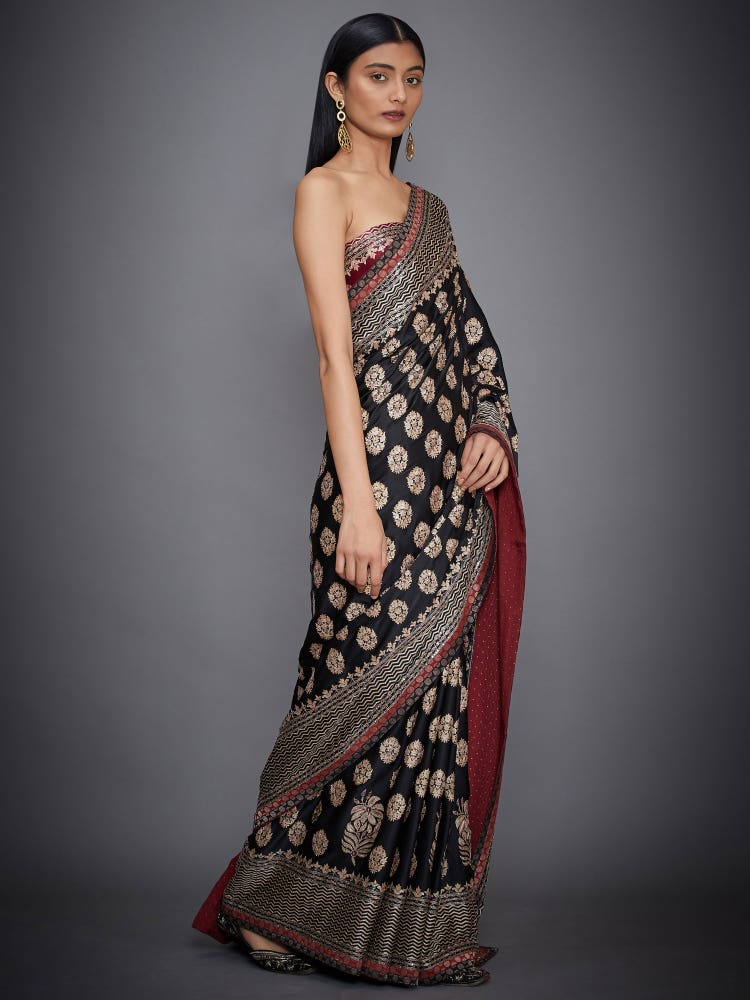 Black & Burgundy Agora Jasmine Embroidered Saree With Unstitched Blouse