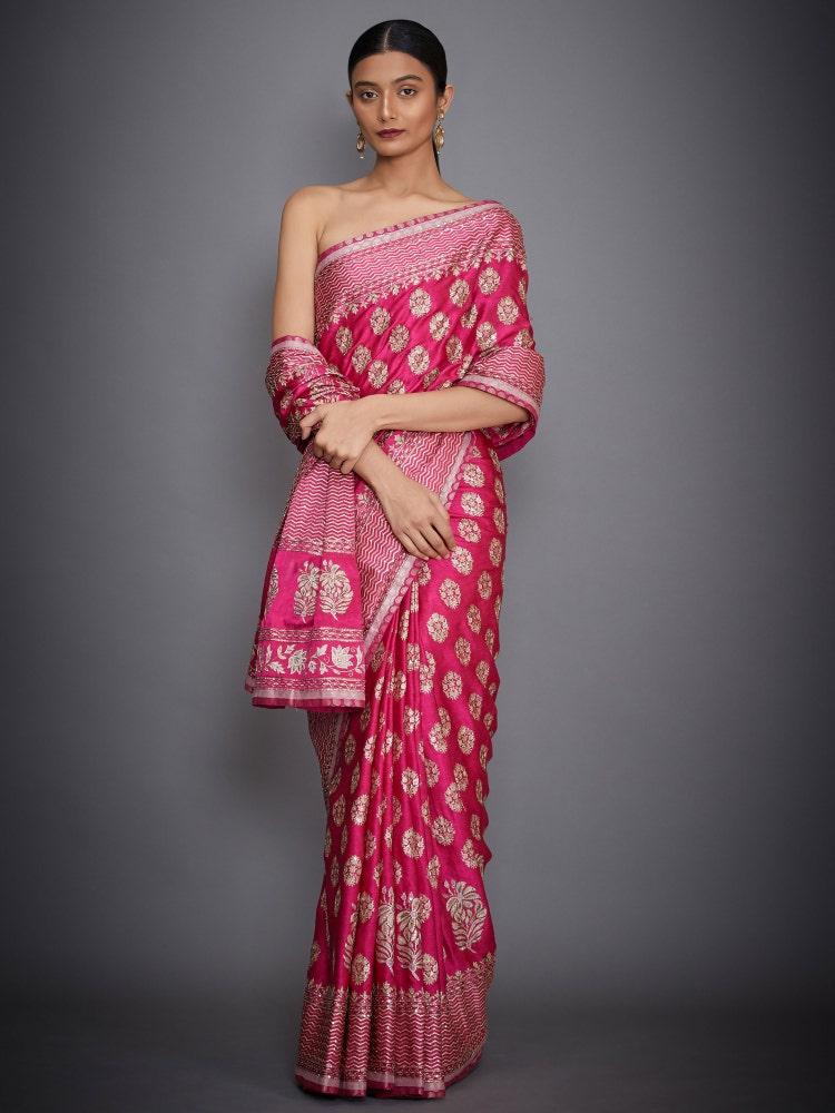 Fuchsia Agora Jasmine Embroidered Saree With Unstitched Blouse