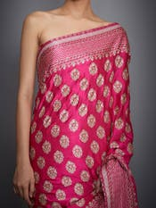 Fuchsia Embroidered Saree With Unstitched Blouse