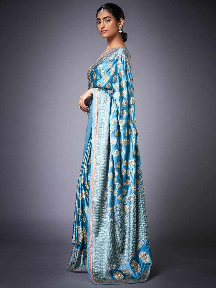 Turquoise Agora Jasmine Embroidered Saree With Unstitched Blouse