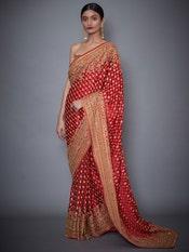 Kriti Kharbanda In A Red Sania Embroidered Paisley Saree