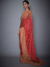 Kriti Kharbanda in a Red Embroidered Paisley Saree