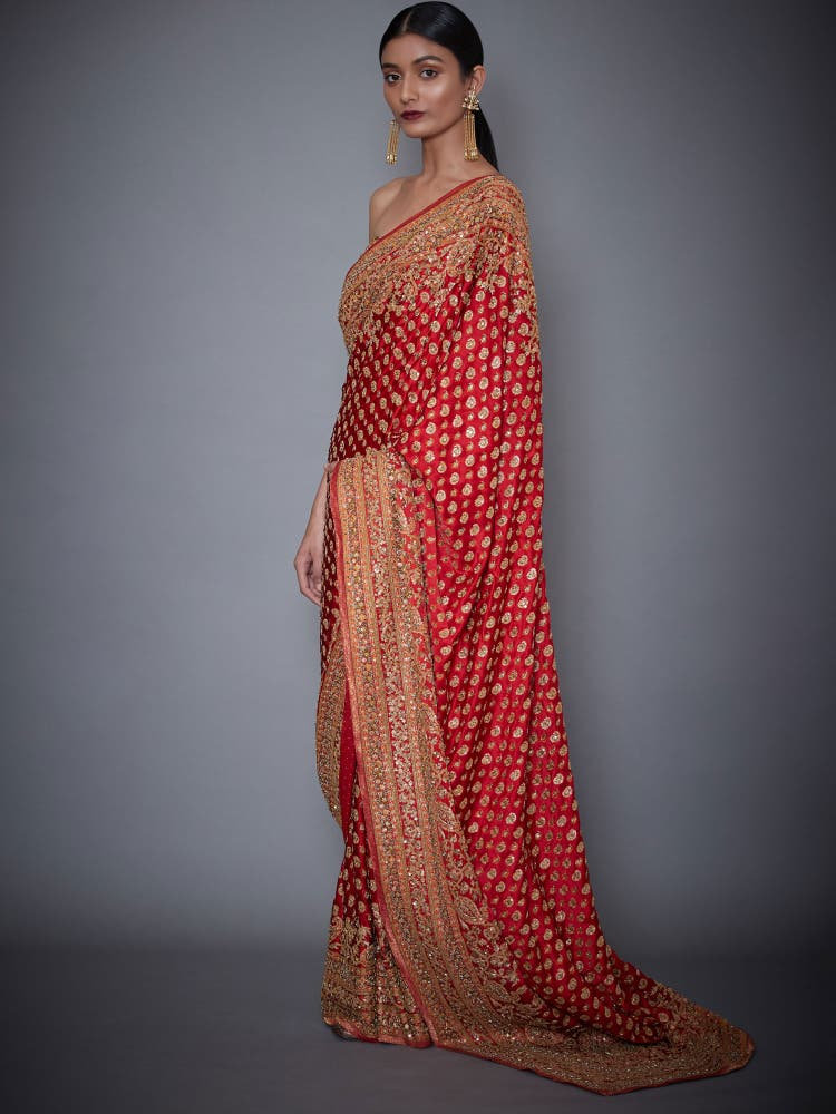 Kriti Kharbanda In A Red Sania Embroidered Paisley Saree