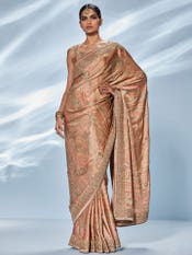 Pink & Sage Green Imran Coat Embroidered Saree With Unstitched Blouse