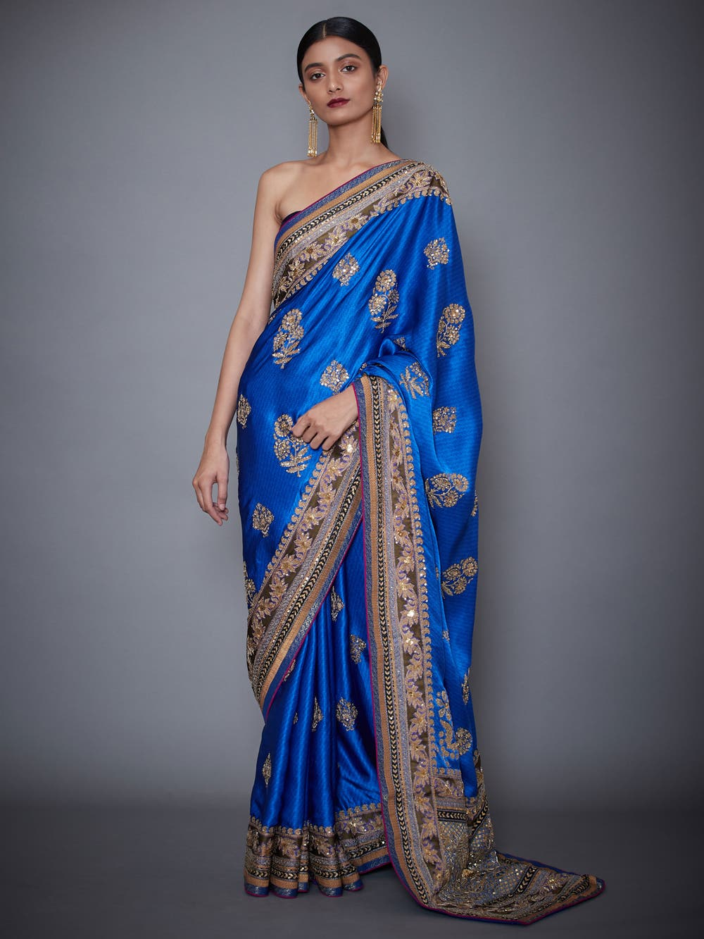 Royal Blue Embroidered Saree With Unstitched Blouse