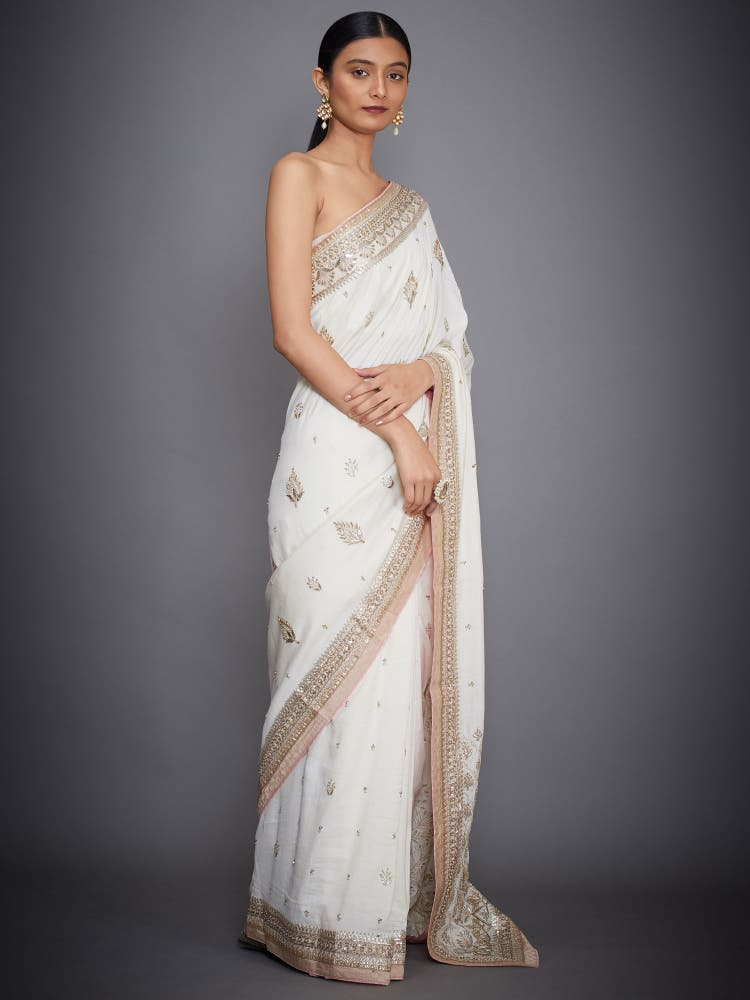 Ivory Grace Gota Silk Embroidered Saree With Unstitched Blouse