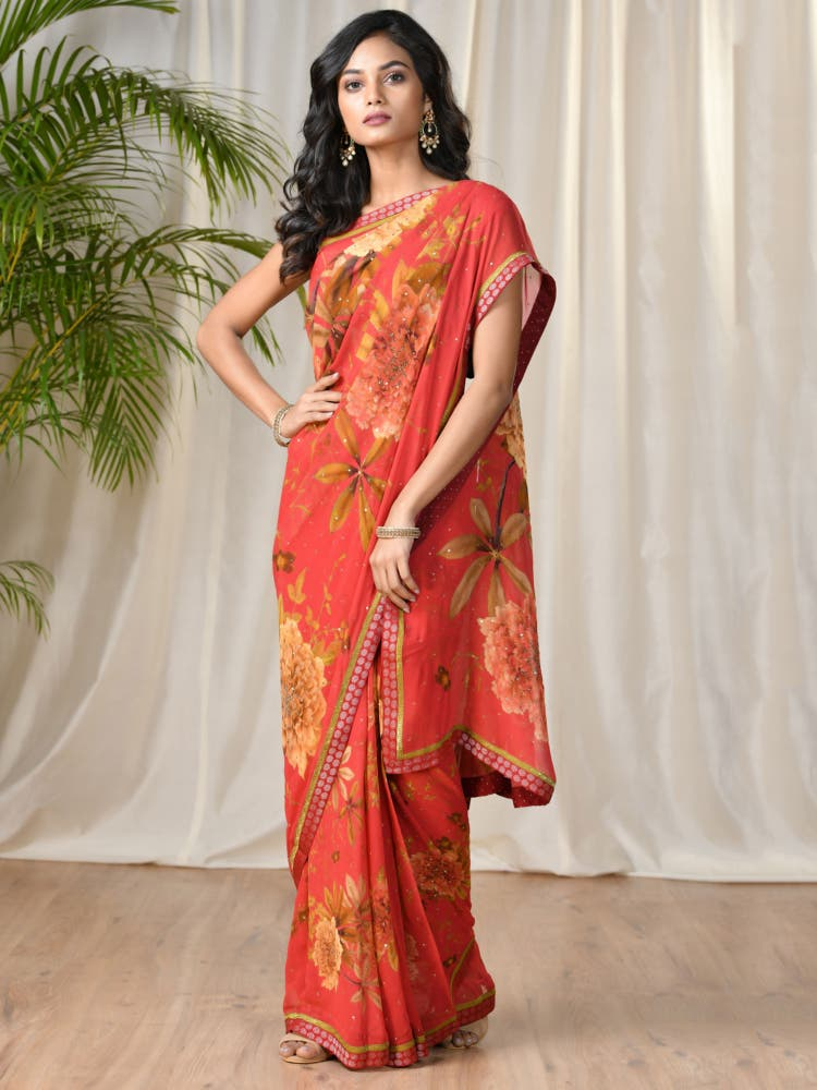 Coral & Black Floral Saree With Unstitched Blouse