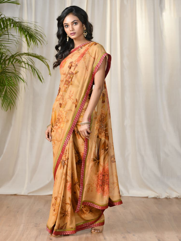 Mustard & Coral Floral Saree With Unstitched Blouse