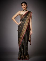Dark Olive Green Hiya Embroidered Saree with Unstitched Blouse