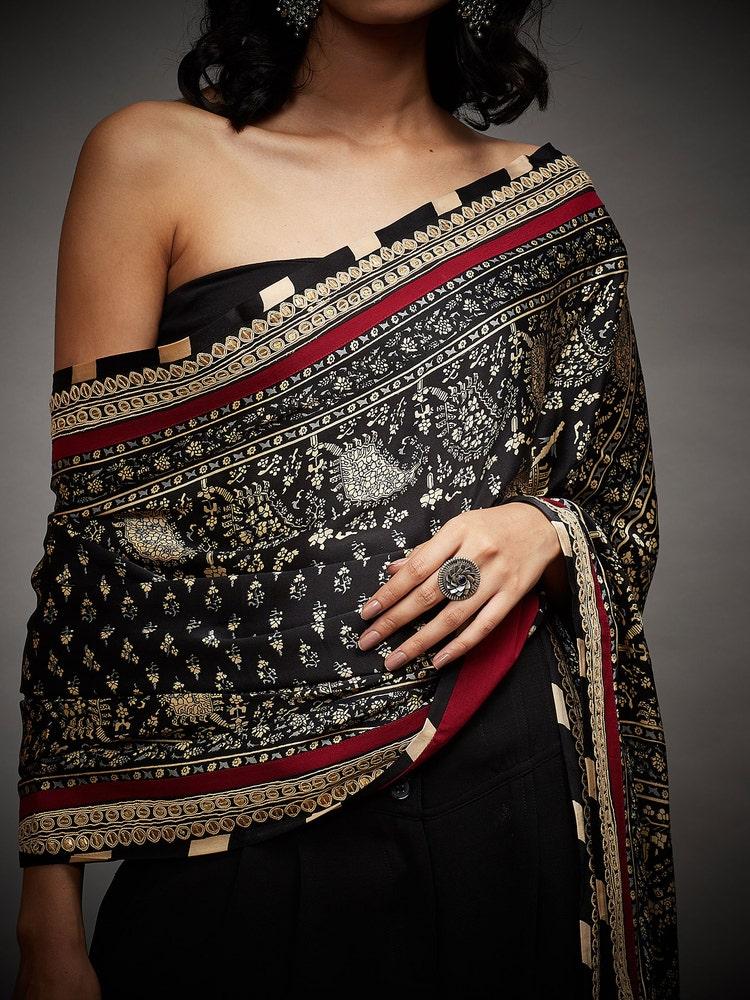 Black & Beige Kalki Hand Embroidered Paisley Shawl