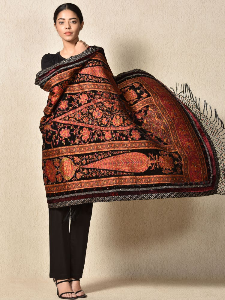 Antique Black Apsara Velvet Shawl