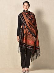 Apsara Antique Black Velvet Shawl