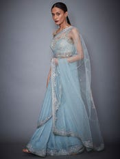 Powder Blue Rutvi Net Saree With Stitched Blouse
