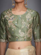 Olive Green Ombre Saree With Stitched Blouse
