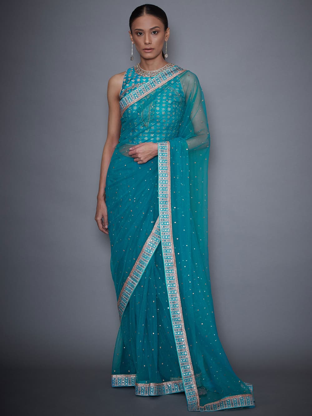 Turquoise Net Saree With Embroidered Stitched Blouse