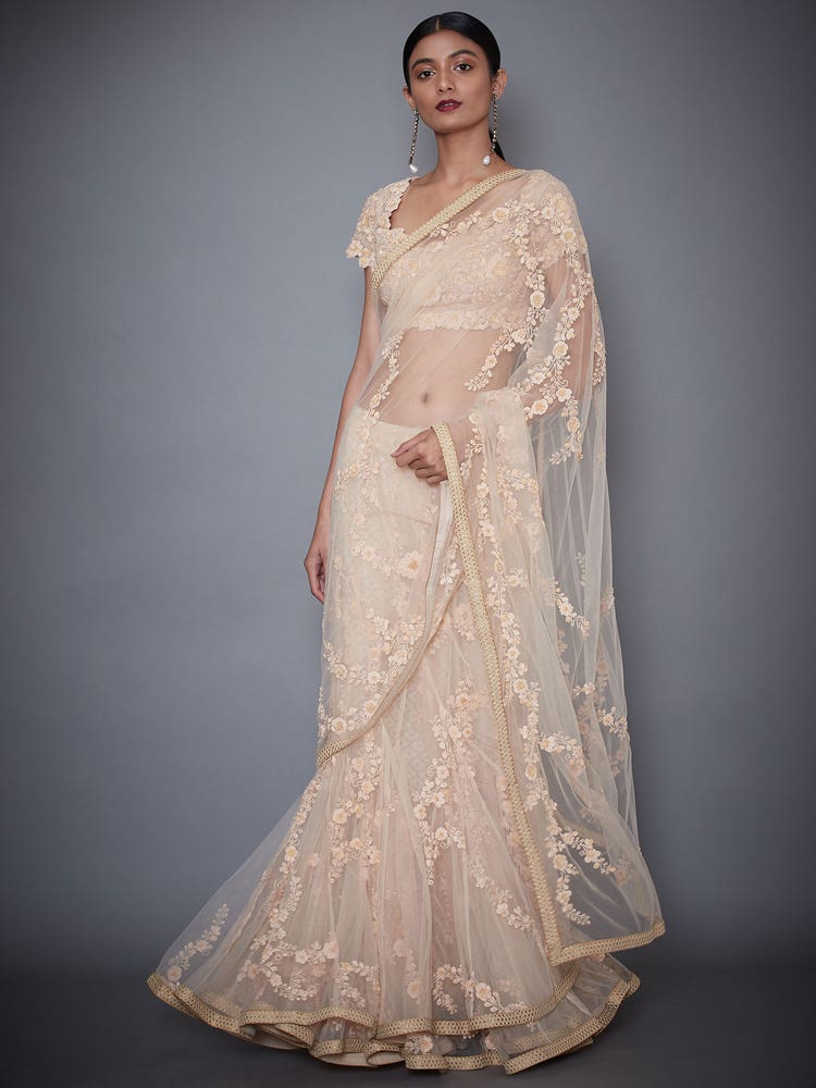 Peach Akansha Embroidered Saree With Stitched Blouse