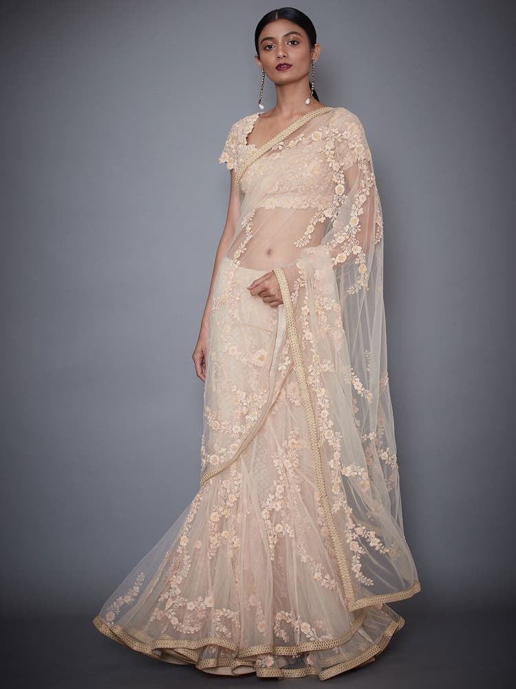 Peach Embroidered Saree With Stitched Blouse